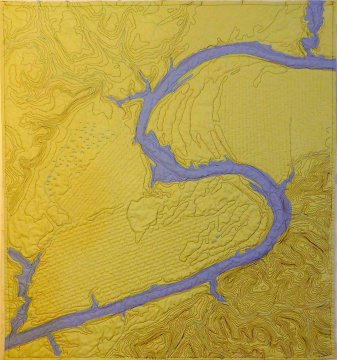 """Cathy Fussell """"Snake Shoals on the Chattahoochee River,"""" quilt, 2018"""